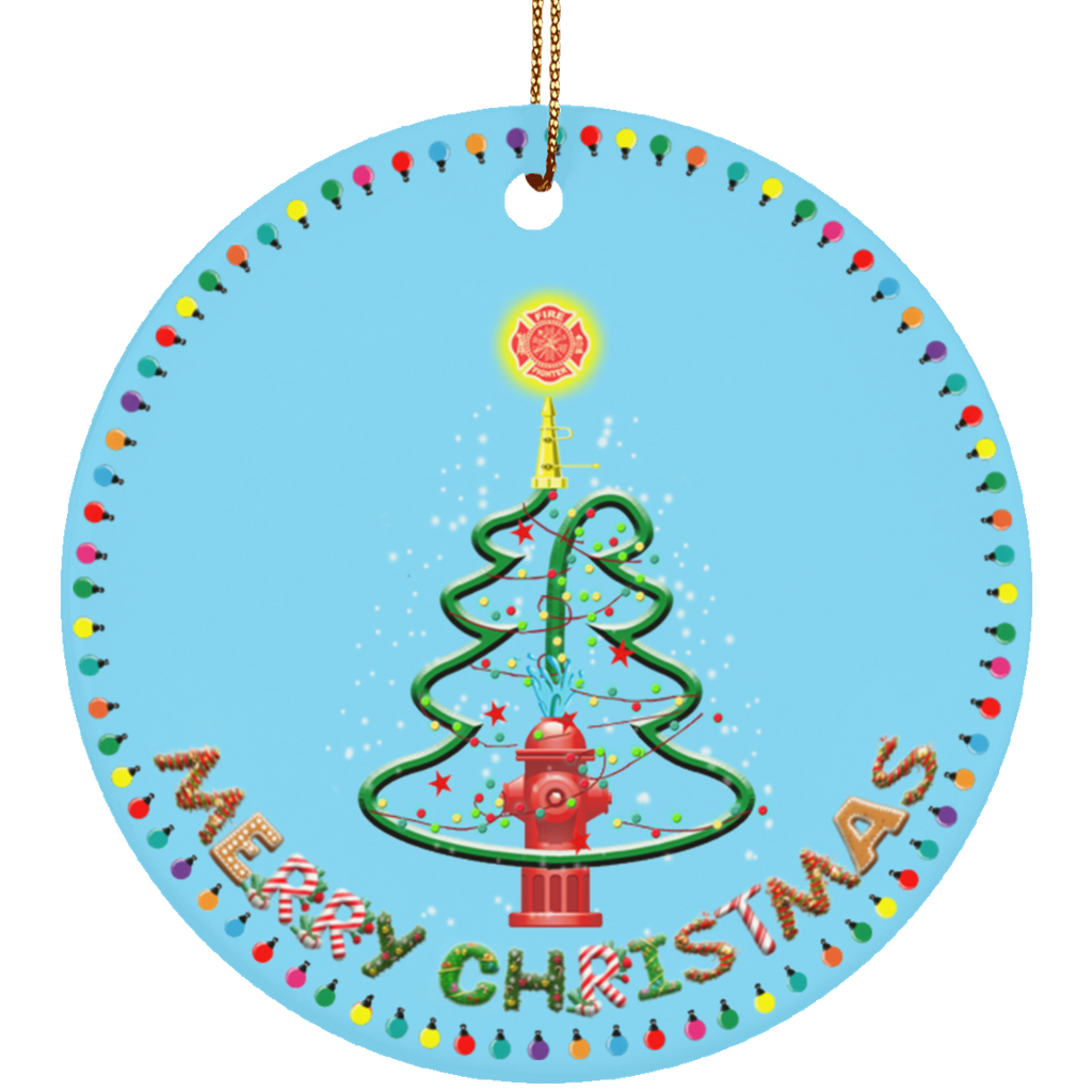 Merry Christmas Fire Hydrant Ceramic Circle Ornament