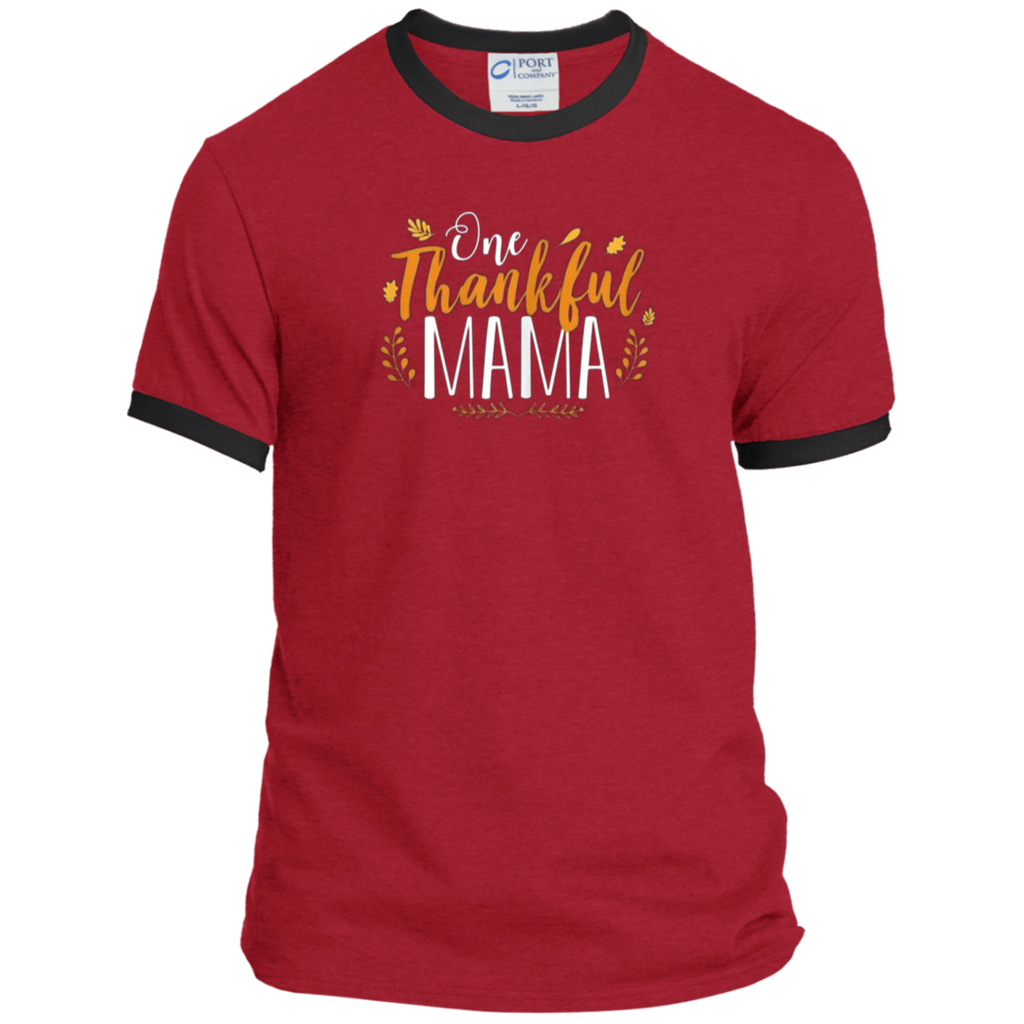 One Thankful MAMA PC54R Port & Co. Ringer Tee
