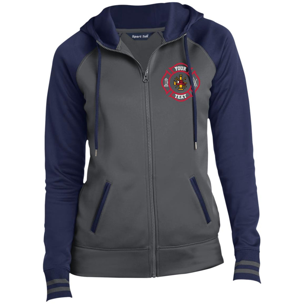 Embroidered Your Own Text TEECHIP LST236 Sport-Tek Ladies' Sport-Wick® Full-Zip Hooded Jacket