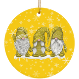 Hanging With My Yellow Gnomies Ceramic Ornament