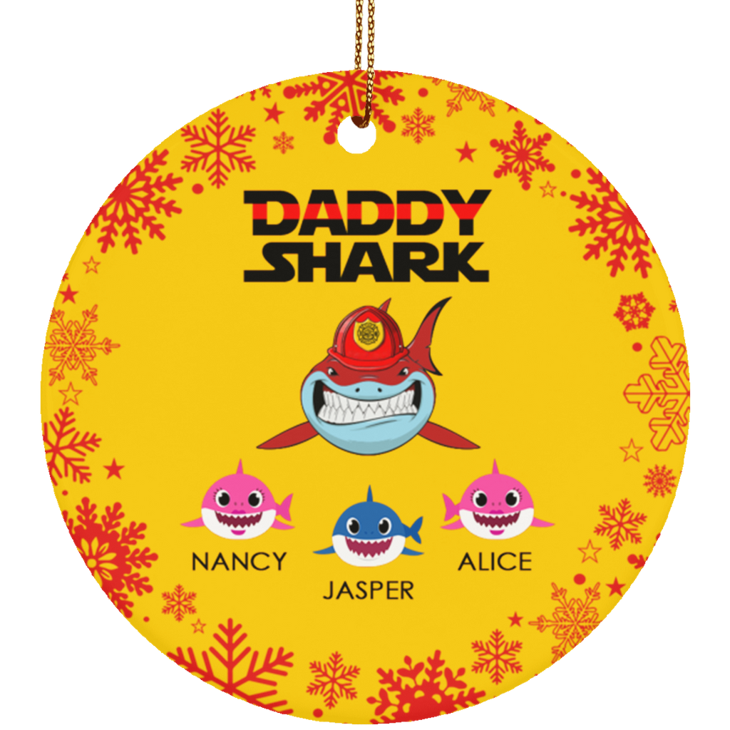 Firefighter Shark Personalized Ceramic Circle Ornament