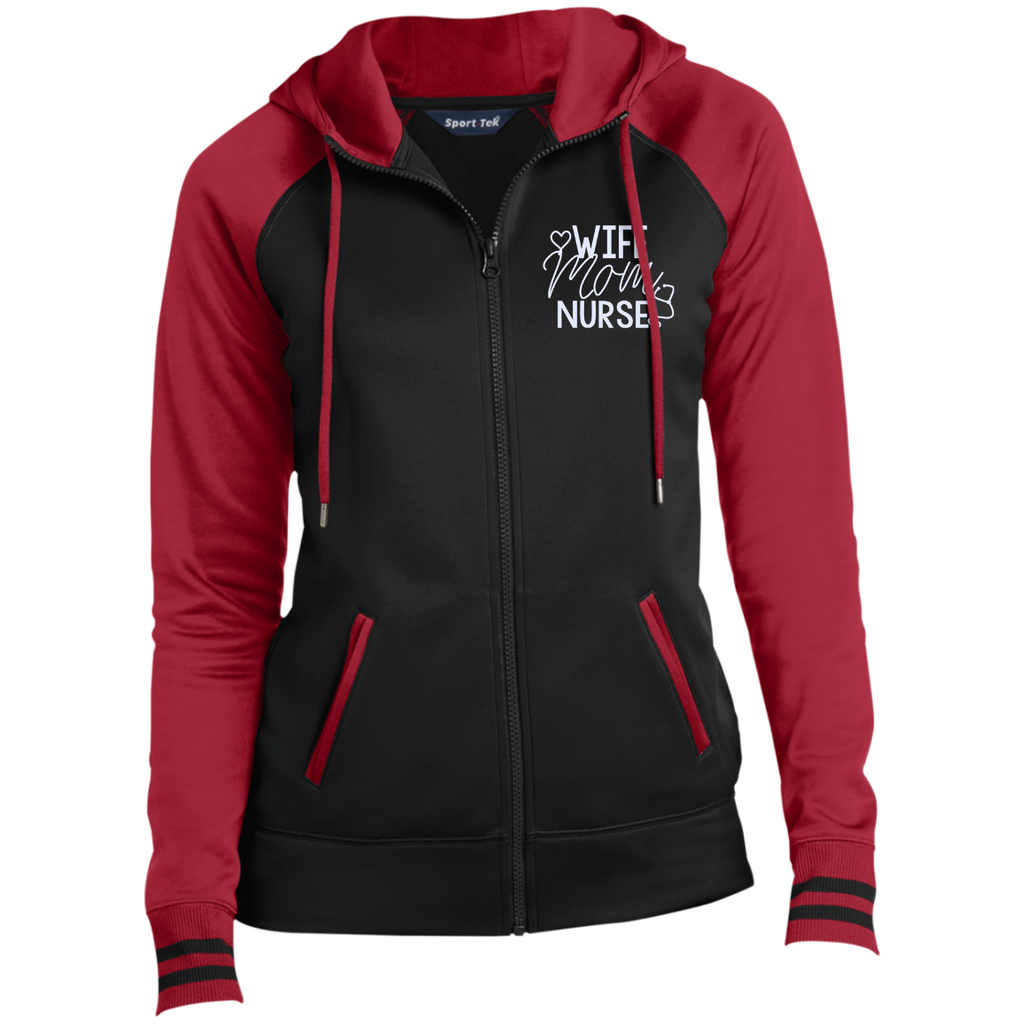 Wife Mom Nurse Embroidered LST236 Sport-Tek Ladies' Sport-Wick® Full-Zip Hooded Jacket