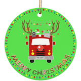 Merry Christmas Fire Truck Ceramic Circle Ornament