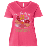One Thankful Teacher 3807 LAT Ladies' Curvy V-Neck T-Shirt