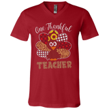 One Thankful Teacher 3005 Bella + Canvas Unisex Jersey SS V-Neck T-Shirt