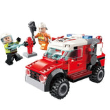 City Police Firefighter Ladder Truck Spray Water Gun Firemen Car Building Blocks Sets Kids Kits Toys Compatible