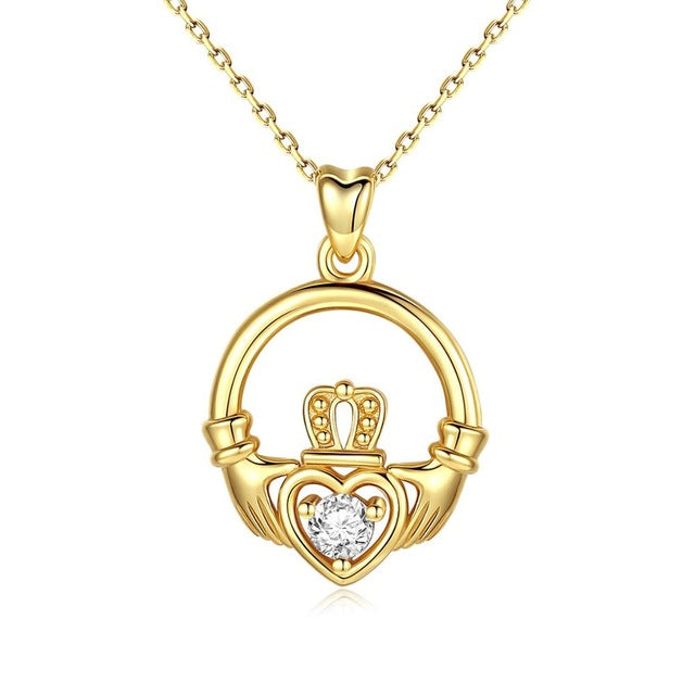 925 Sterling Silver Celtics Claddagh Love CZ Pendant Necklace