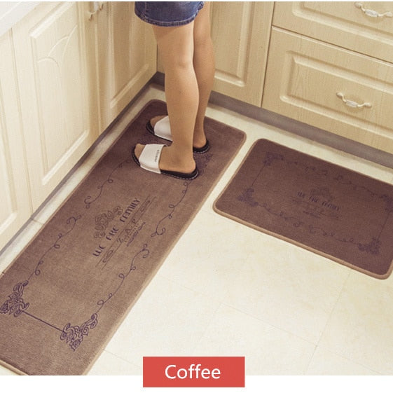 European Retro Fashion Kitchen Floor Mats Super Soft Water Absorbent and Antiskid Kitchen Rug Bathroom Doormat 2Pcs/Set
