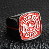 Fashion Silver Black Titanium Steel Fireman Firefighter Ring Men American Firefighter Red Ring Men Black Steel Begue Woman