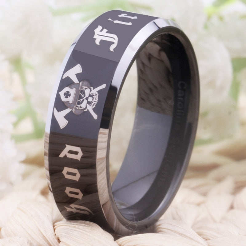 Free Shipping Customs Engraving Ring Hot Sales 8MM Black With Shiny Edges Firefighter Fireman Design Tungsten Wedding Ring