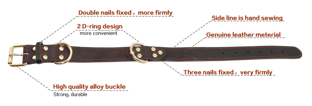 Genuine Leather Dog Collar K9 Working Dog Pet Training Collars Heavy Duty For Medium Large Dogs German Shepherd Brown Color