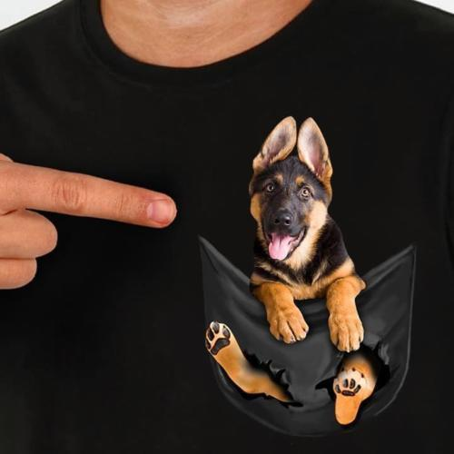 German Shepherd In Pocket T Shirt Dog Lovers Black Cotton Men Made in USA Cartoon t shirt men Unisex New Fashion tshirt