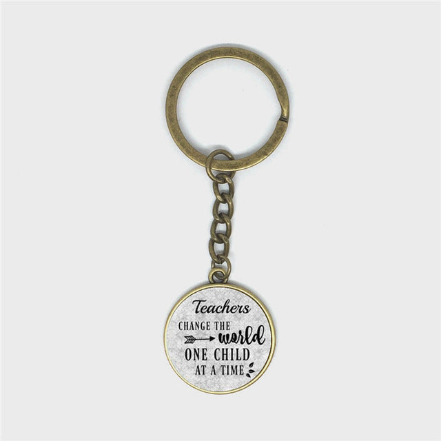 Gift for Teacher,Daycare provider,Teacher charm Keychain,Teacher Appreciation Gift,TEACHERS CHANGE the World One child at a time