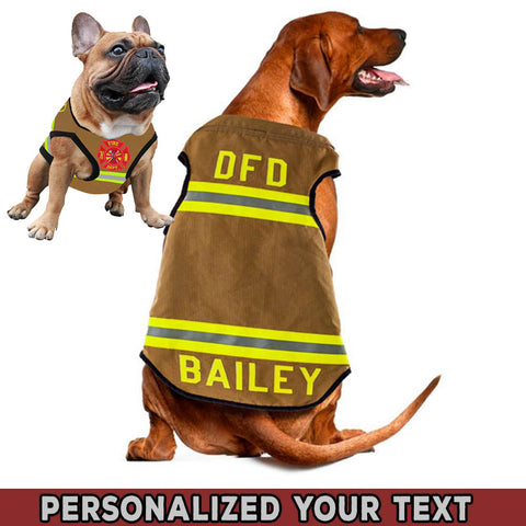 Firefighter Uniform Personalized Text Pet Tank Top