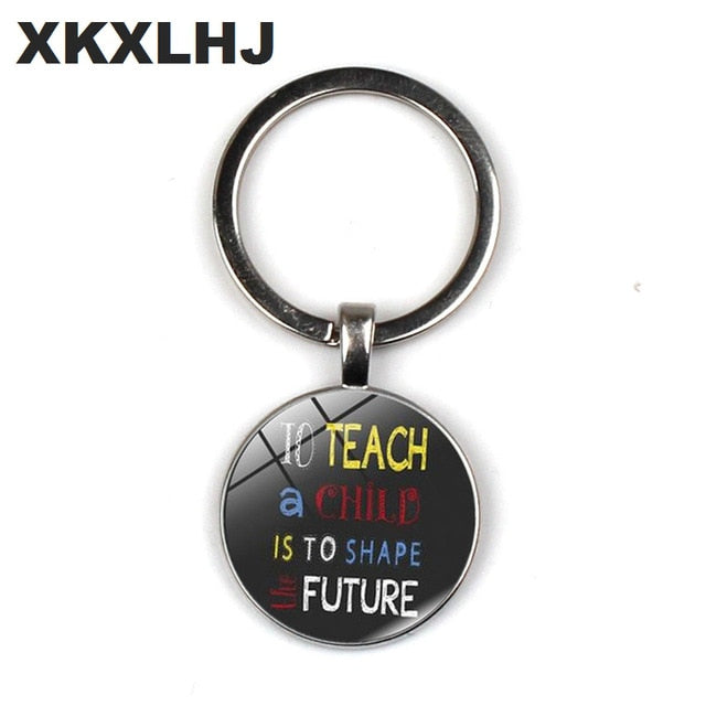 HOT! A Great Teacher Takes a Hand Opens Mind And Touches Heart Shapes Future Keychain 2018 Teacher's Day Gifts Key chain