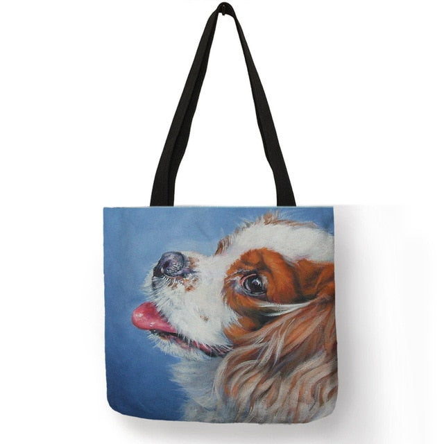 Puppies Charles Spaniel Dog Oil Painting Print Women Handbag Casual Shoulder Bags For School Work Reusable Shopping Tote