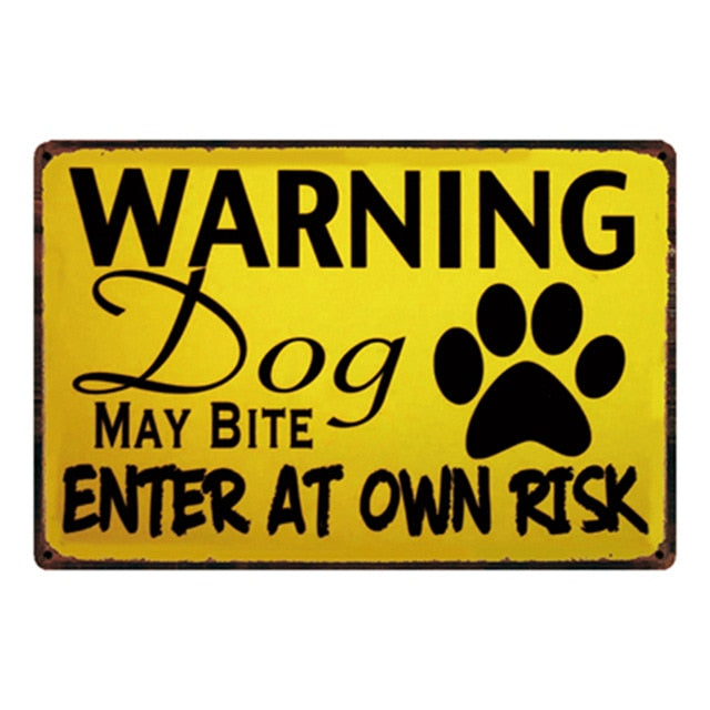 Beware Of The Dog Metal Sign Tin Poster Home Decor Bar Wall Art Painting 20*30 CM Size y-2112