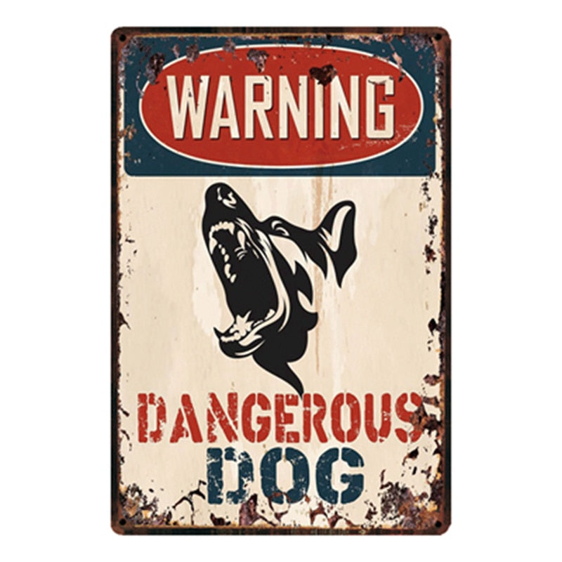 Warning Dangerous Dog Metal Sign Tin Poster Home Decor Bar Wall Art Painting 20*30 CM Size y-2150