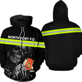 Firefighter Skull Personalized Logo & Text 3D Hoodies