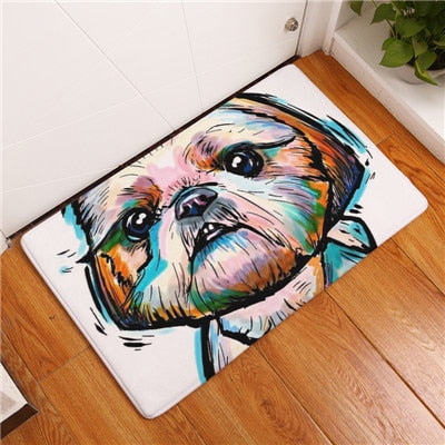 Modern flannel mats Lovely Dog Printing Carpets Anti-slip Floor Mat kitchen Living room Outdoor Rugs Animal DoorMat 40x60cm