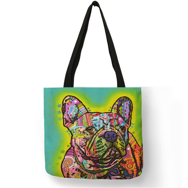 Terrier Print Tote Bag Linen Reusable Shopping Bags Women Fabric Handbags Customized Pattern