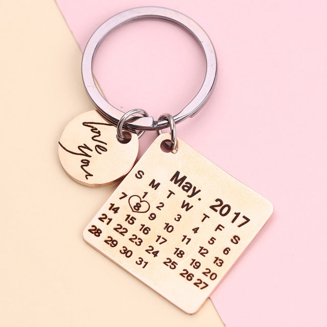 Personalized photo Calendar Keychain Custom Gift Engraved Date Name Stainless Steel Key Chain Graduation Anniversary Birthday