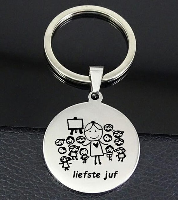 "Teacher Keychain ""liefste juf"" Stainless Steel Disc Teachers llavero Jewelry Souvenir Gift for Women YP6918"