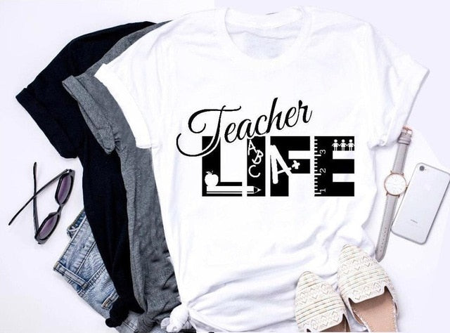 Teacher Life t-shirt book graphic Appreciation Gift cotton slogan tee simple style grunge tumblr lovely quality causal tee tops