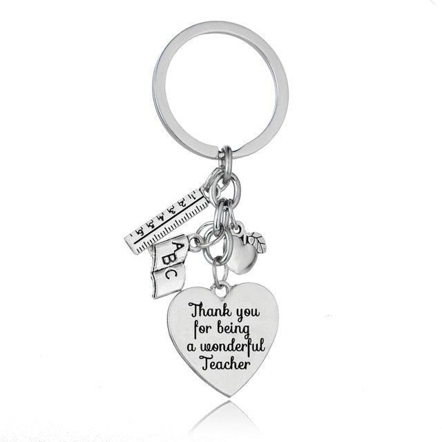 Teachers Keychain Thank You Teacher Jewelry Chic Love Heart Apple Ruler ABC Book Charms Keyring