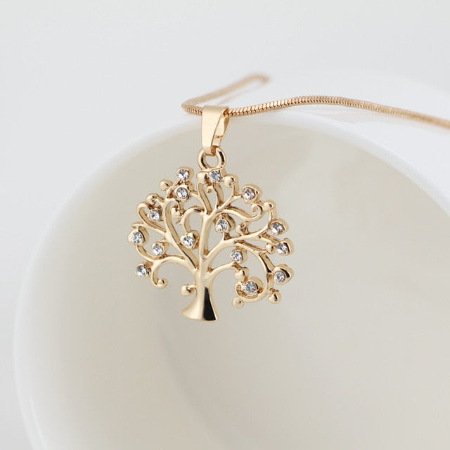 Tree Of Life Crystal Crown Necklace