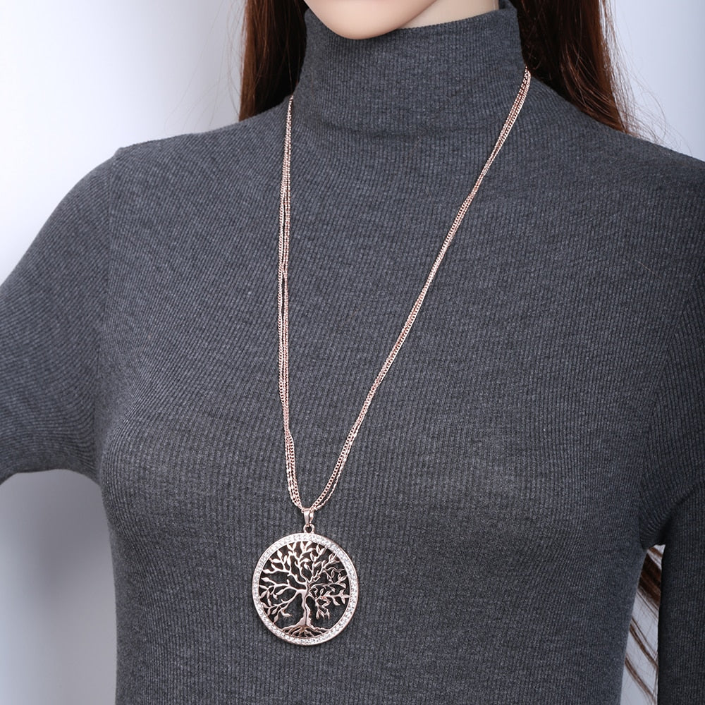 Tree of life Crystal Big Pendant Necklace