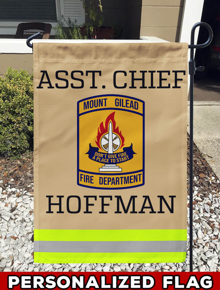 MOUNT GILEAD Fire Department Uniform Personalized Garden Flag/Yard Flag 12 inches x 18 inches Twin-Side Printing