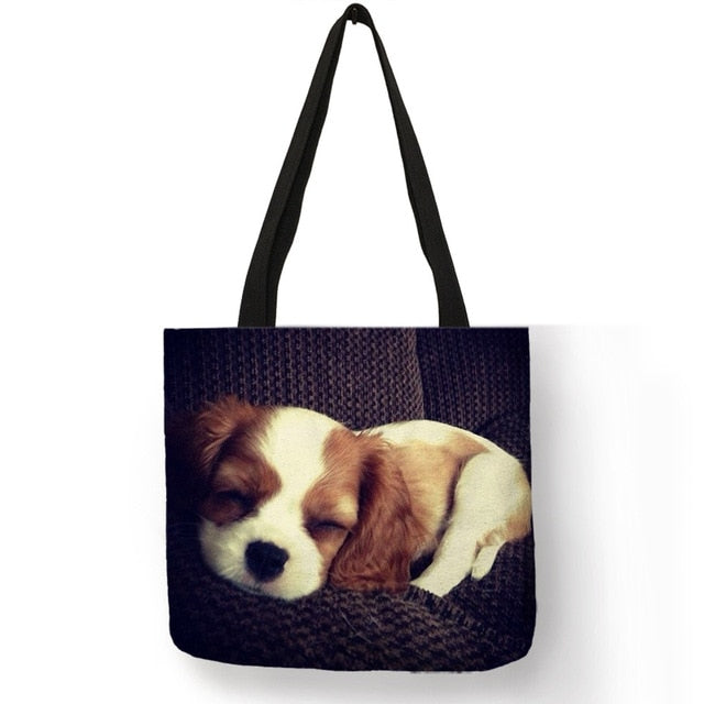 Charles Spaniel Dog Print Tote Bag Handbags For Women Lady Shoulder Bag Durable Shopping Bags Large Capacity