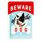 Warning Guard Dogs Vintage Metal Sign Wall Sticker for Garage Pub Cafe Home Wall