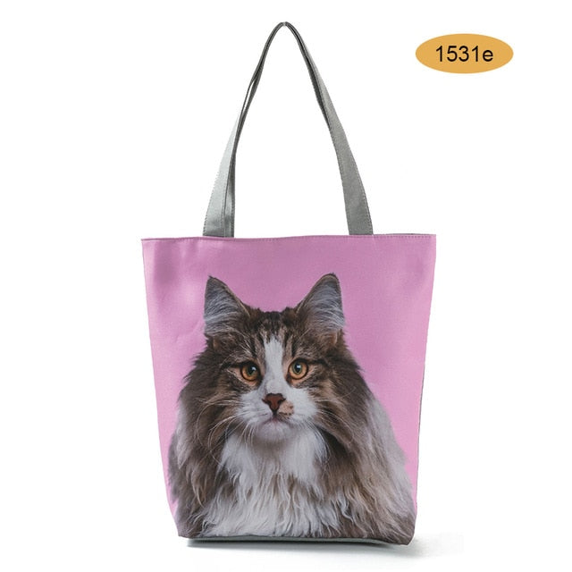 Woman Tote Canvas Bag Cute Cat Dog Printed Handbag Animal Design Beach Casual Shoulder Bags New