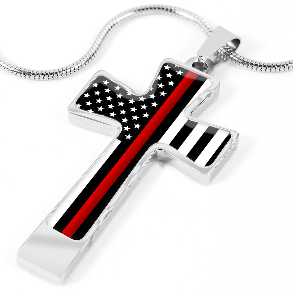 THIN RED LINE FLAG CROSS NECKLACE