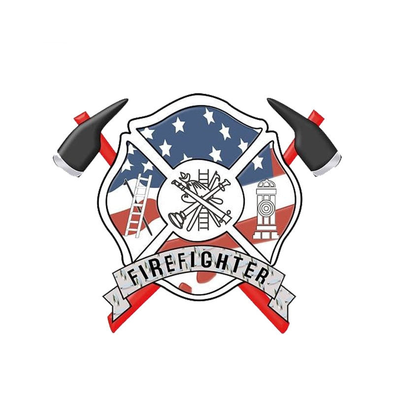 13.3CM*11CM Car Firefighter Axes Maltese Cross Stickers Funny Decal PVC