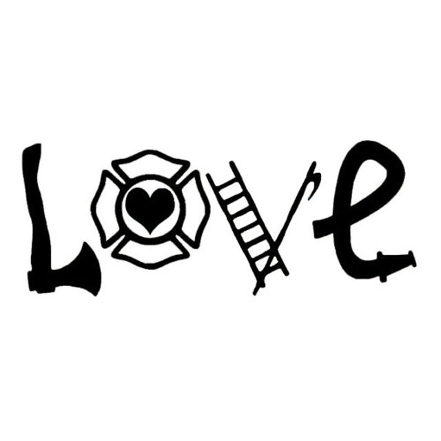 YJZT 15.5X5.9CM LOVE FIREFIGHTER Vinyl Decals Car Window Sticker Black/Silver Accessories S8-1396