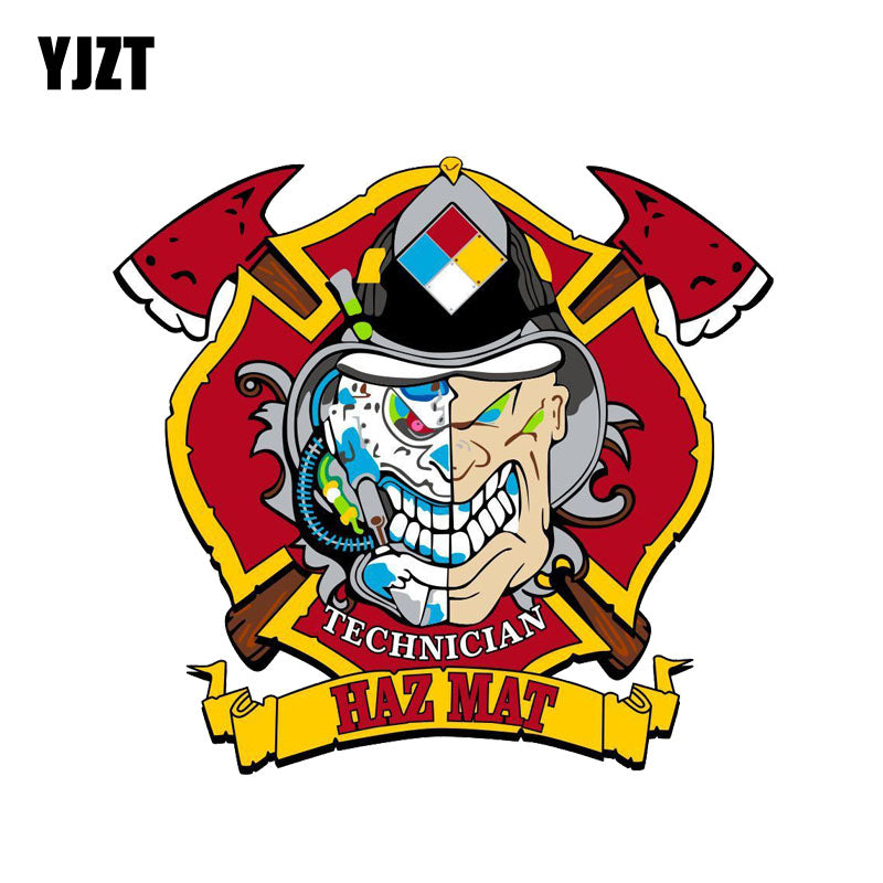 YJZT 15CM*14CM Firefighter Decal Hazmat Technician Skull PVC Car Sticker 12-0669