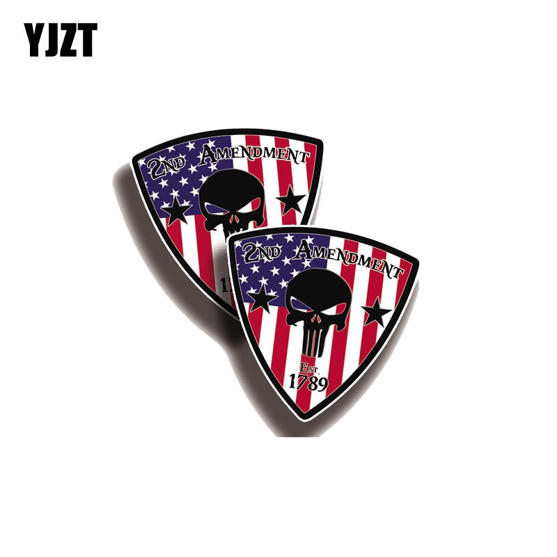 YJZT 2X 10.2CM*10.2CM USA Punisher 2nd Amendment Car Sticker PVC Funny Decal 12-0640