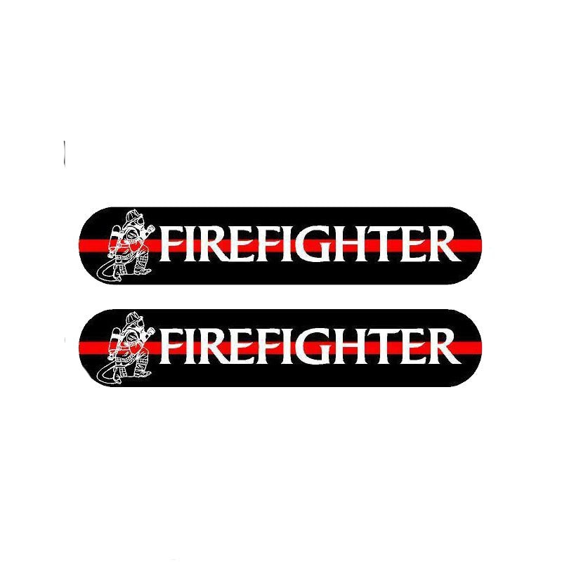 YJZT 2X 13CM*2.4CM A Funny Fireman Car Sticker Reflective Decal PVC 12-0497