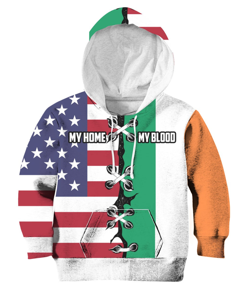 My Home My Blood American Irish Tee Zip Hoodie 3D