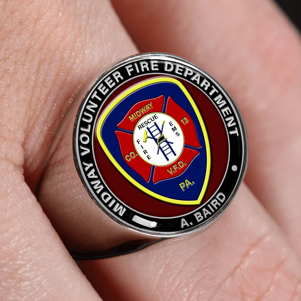 Firefighter Personalized Logo & Text Signet Ring (🇺🇸USA Made)