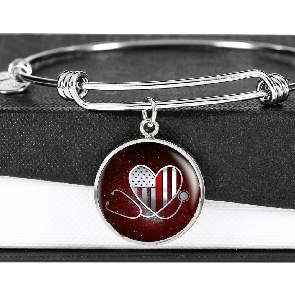 Stethoscope Thin Red Blue Line Cirlce Pendant Bangle Bracelet (🇺🇸USA Made)