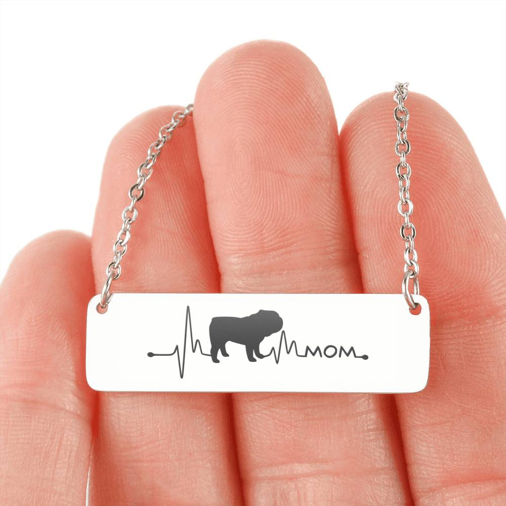 English Bulldog Mom Pulse Love Horizontal Bar Necklace (🇺🇸USA Made)