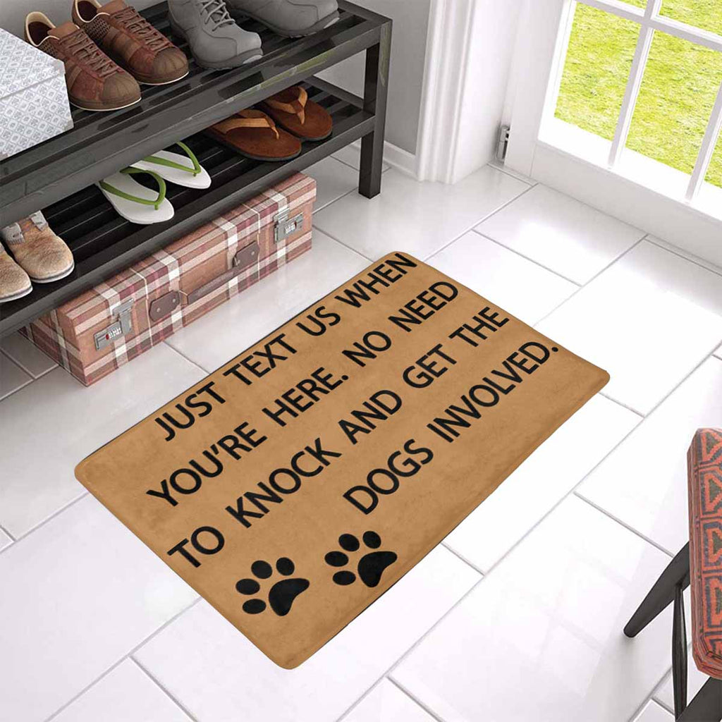 "TO KNOCK AND GET THE DOGS INVOLVED Doormat 23.6"" x 15.7"""