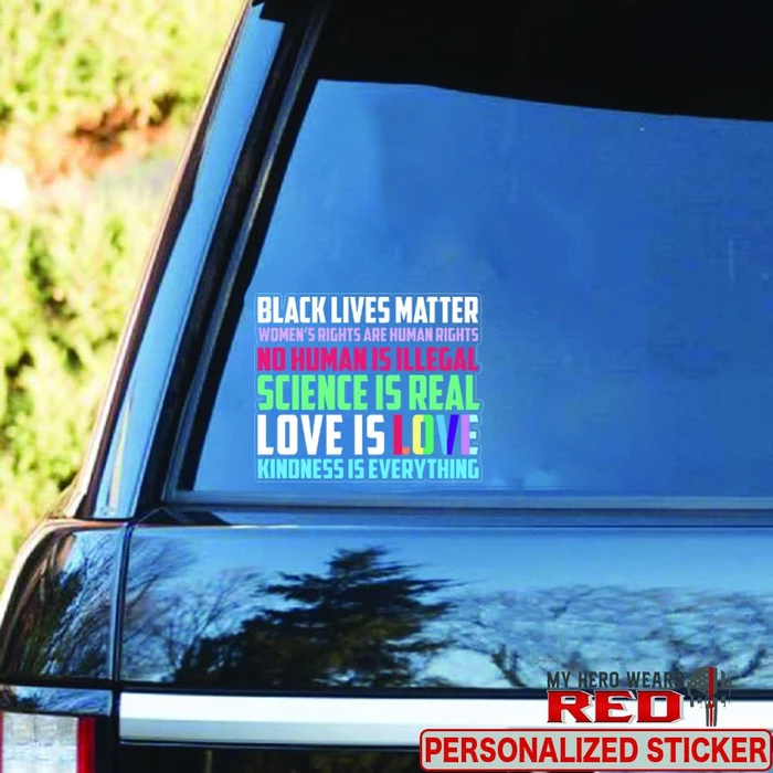 Peace Love Justice Clear Sticker