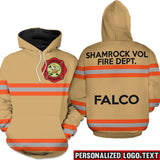 Firefighter Uniform Personalized Logo & Text 3D Hoodies-Orange Line-text white