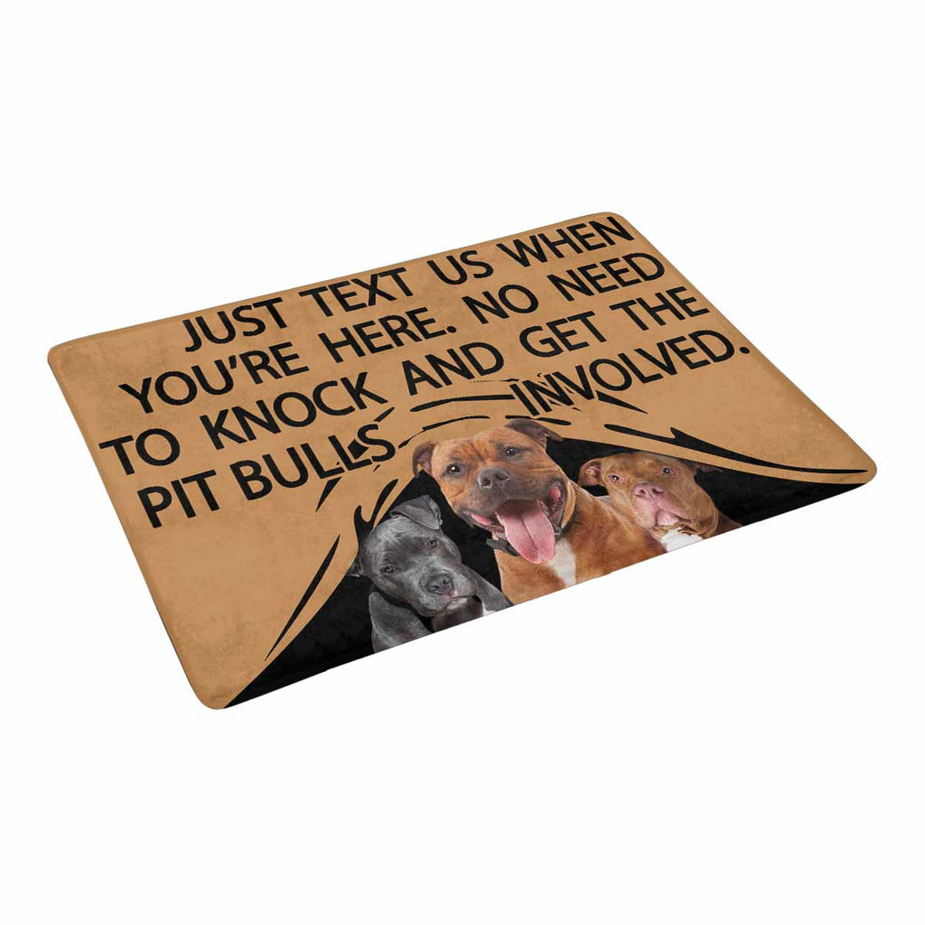 "TO KNOCK AND GET THE PIT BULLS INVOLVED Doormat 23.6"" x 15.7"""