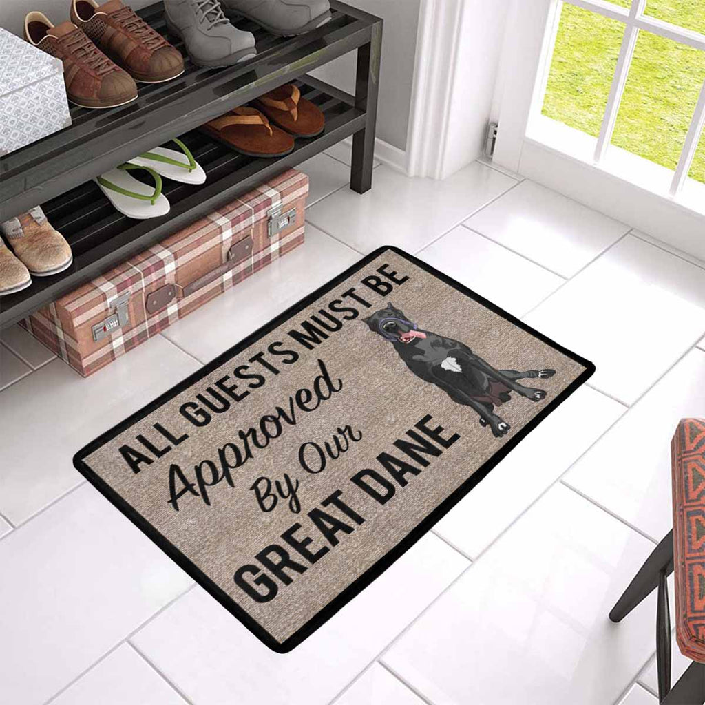 "All Guests Must Be Approved By Our Black GREAT DANE Doormat 23.6"" x 15.7"""